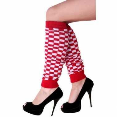 Rood/wit geblokte beenwarmers voor dames kopen